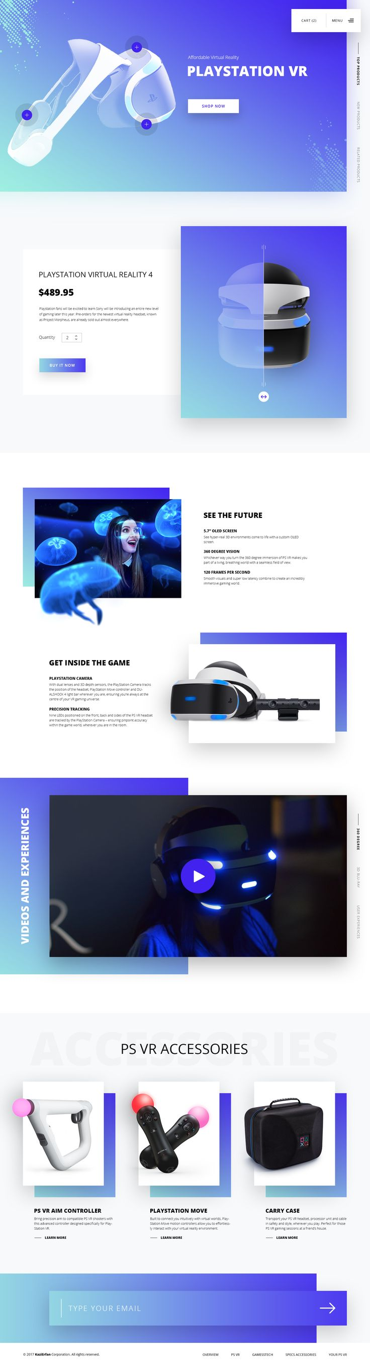 Nowadays I'm researching on Virtual Reality a lot. Here's a glimpse of PlayStation VR website concept.... %desc