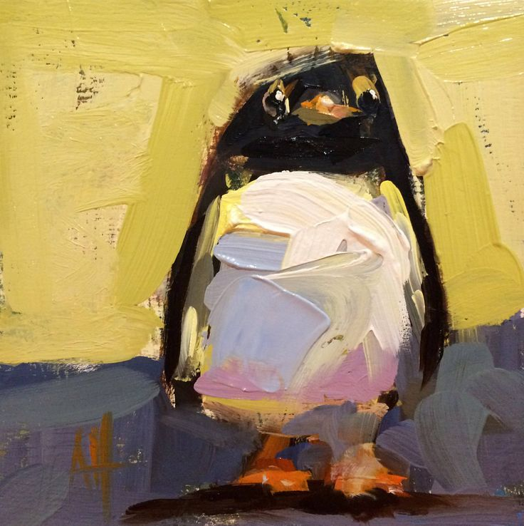 Penguin no. 6 Original Oil Painting by Angela Moulton 6 x 6 inch pre-order by prattcreekart on Etsy