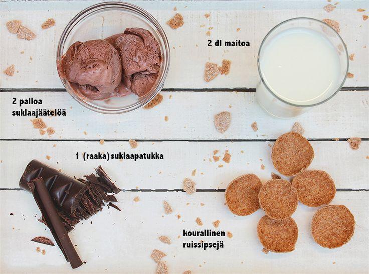 ** SUKLAA-RUIS -pirtelö ** 2 dl maitoa kourallinen Aito RuisSipsejä 2 palloa suklaajäätelöä 1 (raaka)suklaapatukka  Laita kaikki ainekset tehosekoittimeen ja surrauta. Tarjoile ja nauti!