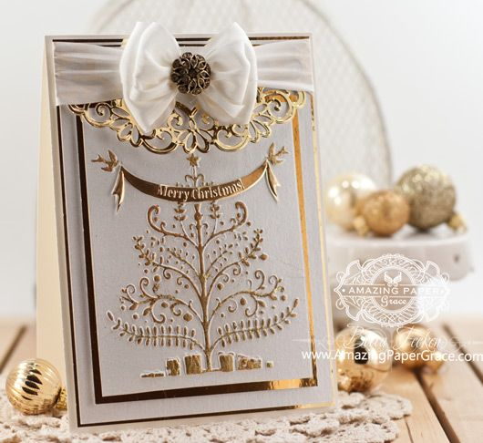 Christmas Card Making Ideas by Becca Feeken using Spellbinders Christmas Tree embossing folder and Heirloom Oval - www.amazingpapergrace.com