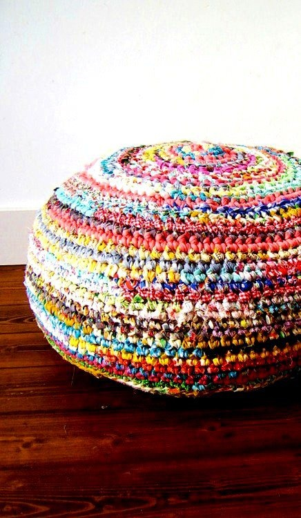 Fabric crochet pouf chair/ottoman. This would be cool with wool and ...
