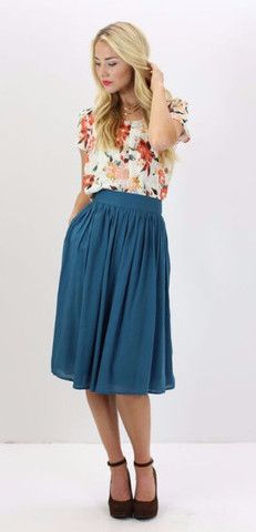 Cotton Gathered Skirt (Teal)