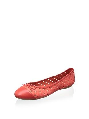 55% OFF Delman Women's Starr Ballet Flat (Coral Perforated Sheepskin/Nappa)
