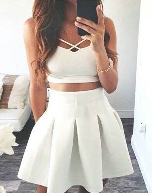 short homecoming dress,homecoming dresses,two-piece homecoming dress