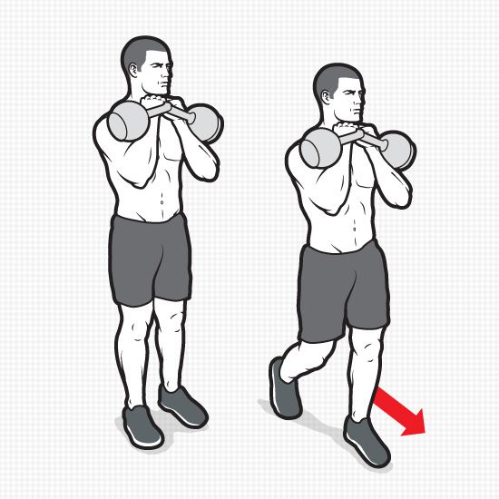 "KETTLEBELL RACK CARRY  HOW TO DO IT: Grab two kettlebells and ""rack"" them, holding the kettlebells in front of your chest with your elbows tucked, your palms facing in, and the bottom of each bell resting between your biceps and forearms. Walk 50 to 75 feet. That's 1 set. Do 3 to 4, resting 30 to 45 seconds between them."