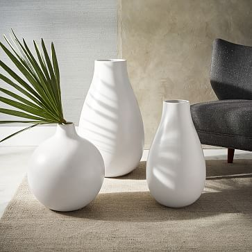 Oversized Pure White Ceramic Vases in Extra Large Ball