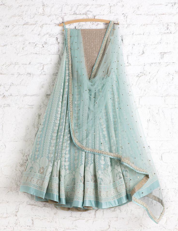 SwatiManish Lehengas SMF LEH 173 17 Candy blue white threadwork lehenga with badla dupatta and anmol sequin blouse