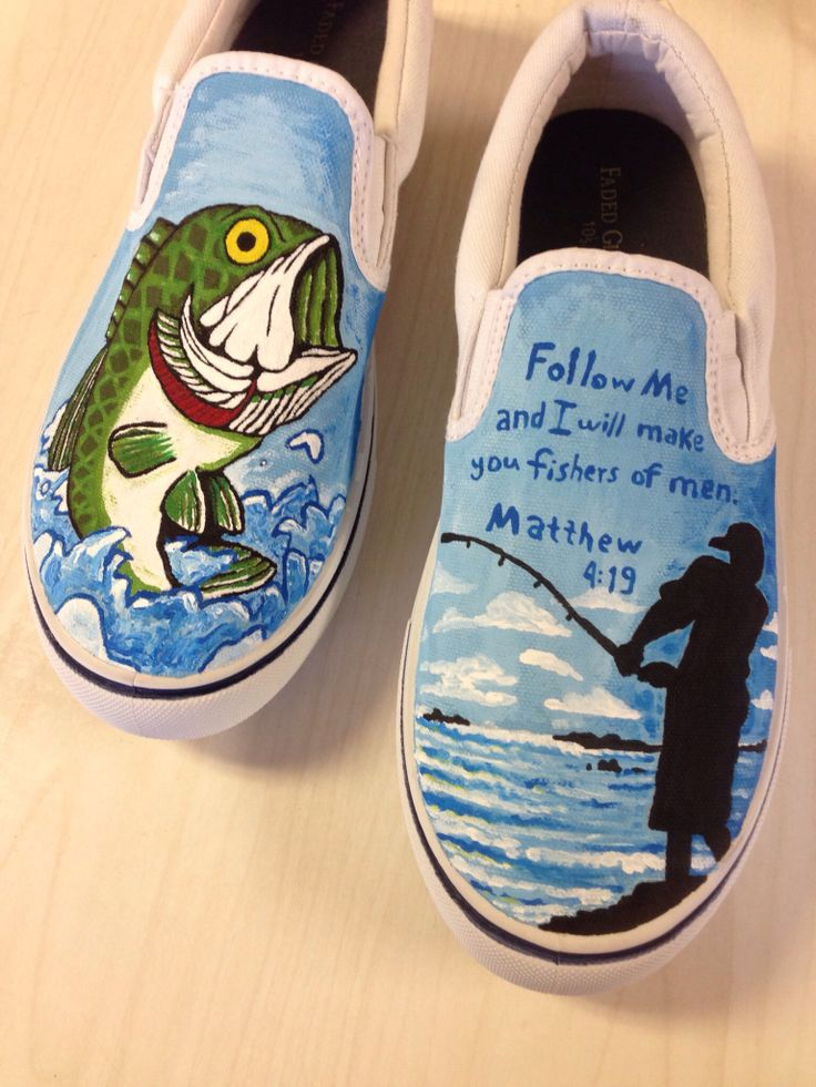 Best 25 hand painted shoes ideas on pinterest painting for Bass fish slippers