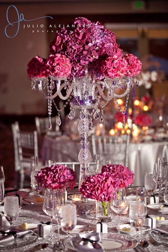 decoração de festa hydrangeas instead of candles topping candelabras. #wedding…