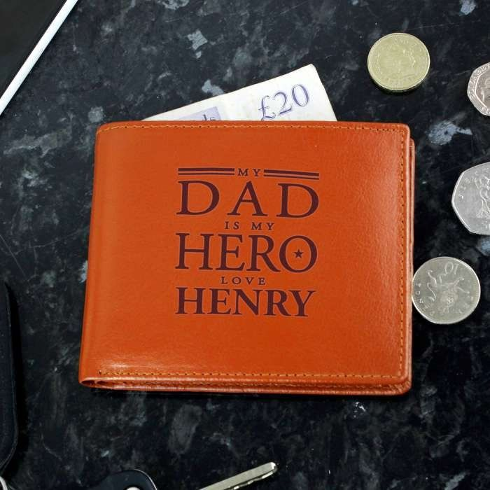 My Dad is My Hero Tan Leather Personalised Wallet. https://harringtons-gift-store.co.uk/collections/fathers-day-gifts/products/my-dad-is-my-hero-tan-leather-personalised-wallet