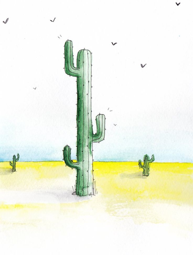 Watercolor cactuses in the desert by mariaptore
