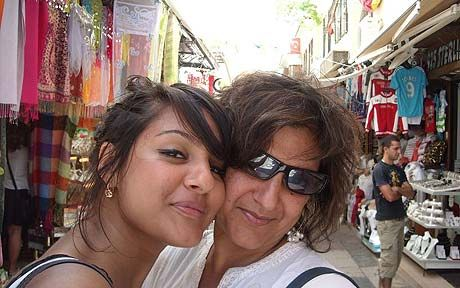 Meera Syal with one of her daughters. Wrote Life Isn't All Ha Ha Hee Hee.  Starred in a Desi-British version of SNL, Goodness Gracious Me.