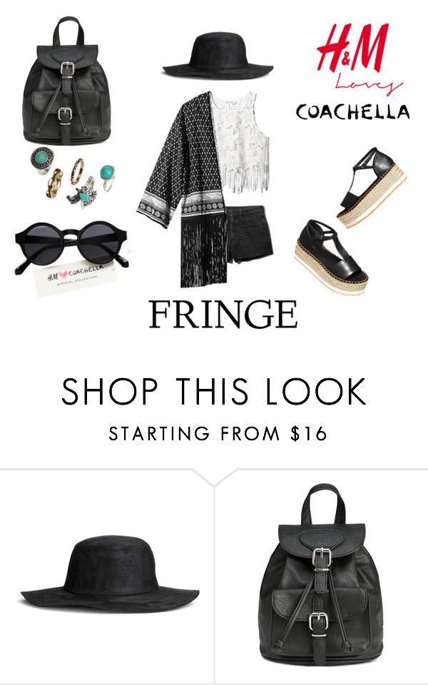 """""""H&M coachella fringe outfit"""" by ceci7486 ❤ liked on Polyvore featuring H&M"""
