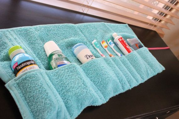"Washcloth travel pouch.  What a good idea for traveling with older kids!  They can use this for their own ""supplies."""
