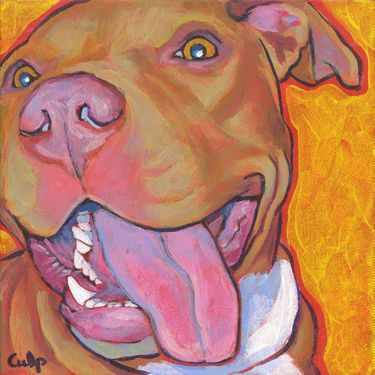 Red Nose Lucy with Tongue Pit Bull Print, Dog Park Publishing