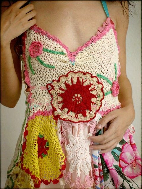 Crochet Dress by rubypearl (unique way to use old doilies!)Crochet Dresses, Hands Made, Fashion Models, Diy Fashion, Diy Gift, Hippie Chic, Crochet Doilies, Crochet Tops, Crochet Clothing