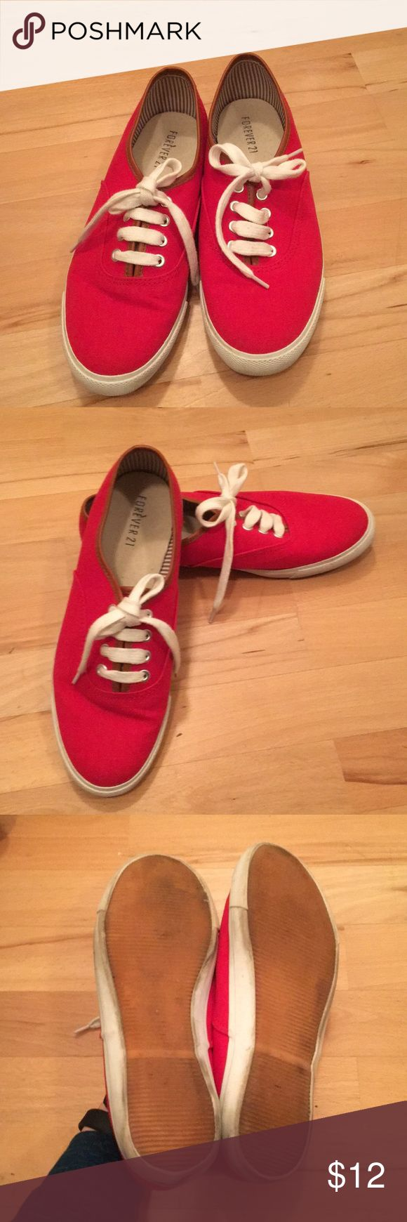 Forever 21 Red Sneakers Forever 21 Red Sneakers White trim has some scuff marks otherwise good condition. Worn a handful of times. Forever 21 Shoes Sneakers