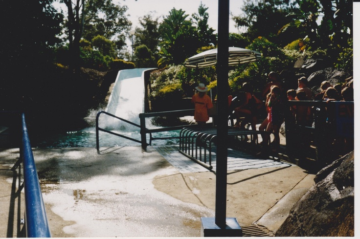 People queuing up for the 'Mountain Cascade' at 'The Beach' at Australia's Wonderland
