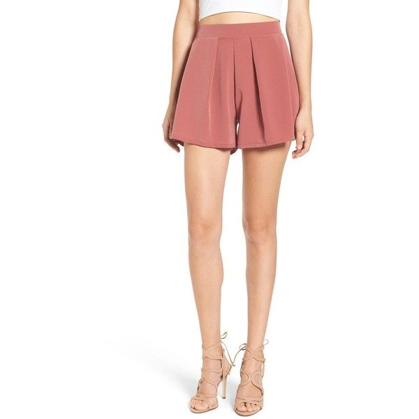 Women's Leith Pleated High Waist Shorts ($48) ❤ liked on Polyvore featuring shorts, red jelly, highwaist shorts, high-waisted shorts, high waisted shorts, red highwaisted shorts and red shorts