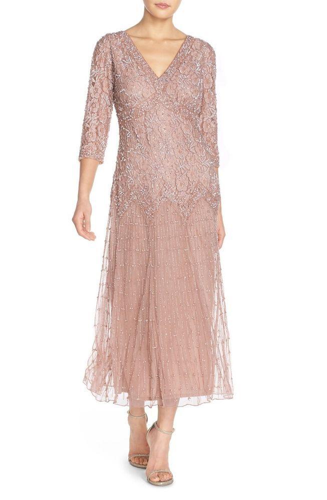 7206c52e199 New PISARRO NIGHTS Beaded V Neck Mesh Dress Light Lavender 3 4 Sleeve Size 8  P  PisarroNights