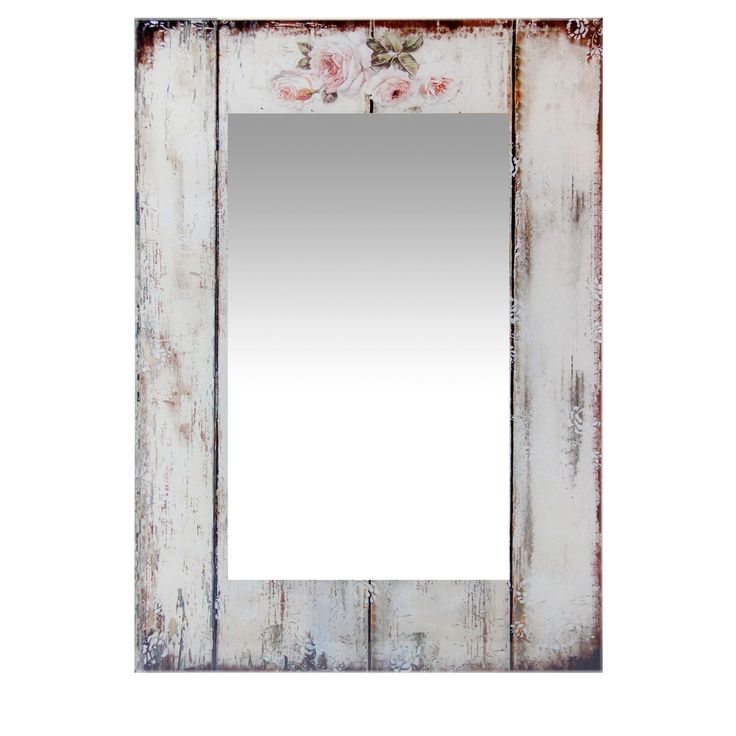 27.5 Inch Large Wall Mirror Shabby Chic by Infinity Instruments (Antique White - White)