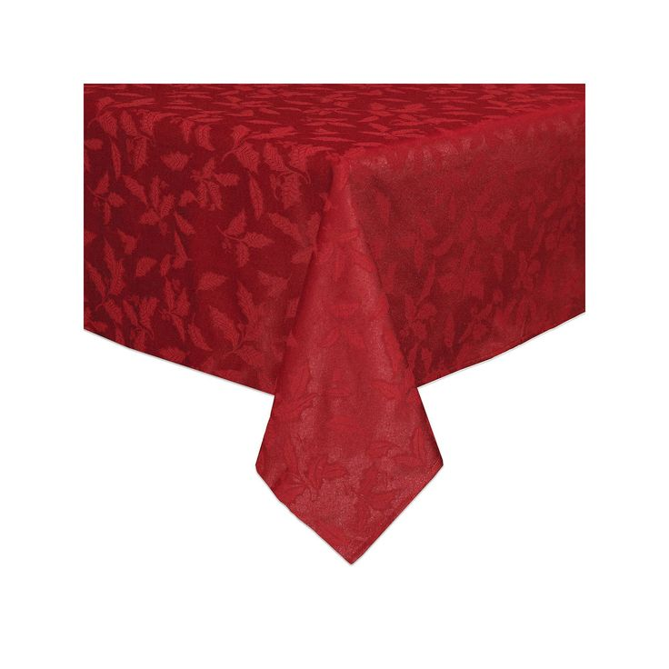 Lenox Holly Leaf Damask Tablecloth, Red