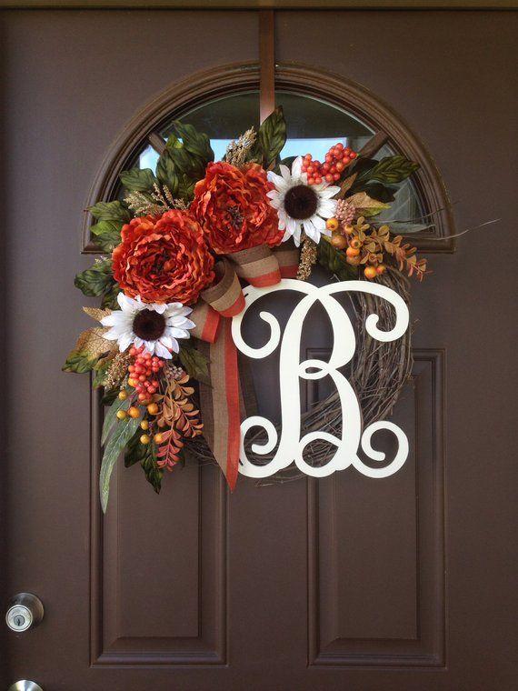 fall wreath for front door sunflower and peony wreath with monogram front door decor thanksgiving wreath for front door with initial
