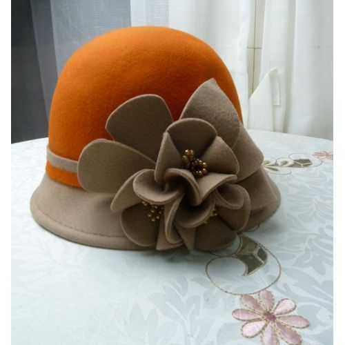 Women Orange Camel Wool Winter Dress Church Bucket Hat Store Online  SKU-158142