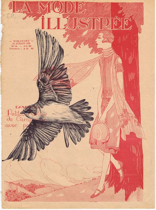 Mark Powell  Bic biro drawing on 1926 French magazine cover, 2013