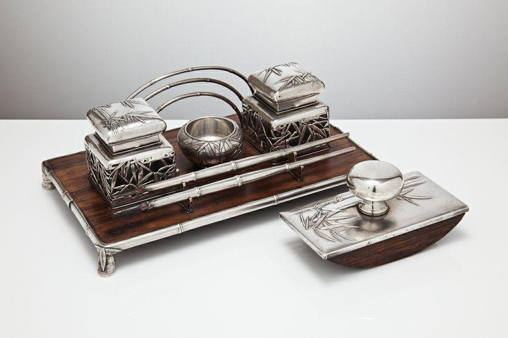 International man of letters? Japanese silver inkstand and matching blotter by Myamoto Shoko, c1920. S & J Stodel @ silvervaultslondon.com
