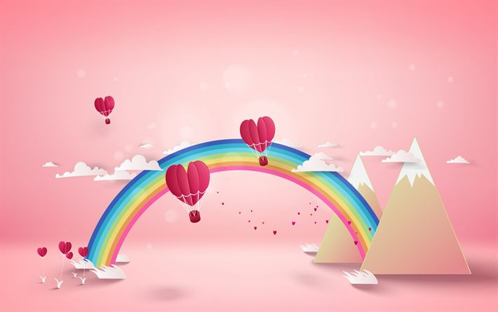 Download wallpapers Valentines Day, origami, landscape, rendering, romantic landscape, red hearts