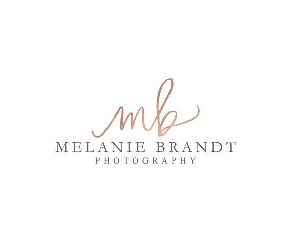 Rose Gold Foil Initial Photography Logo Design Fancy by fancybelle