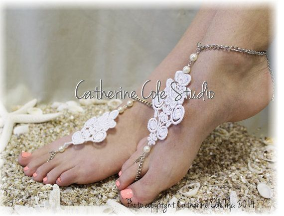 LACE LOVE Barefoot Sandals handmade lace by CatherineColeStudio, $16.50 fits many sizes from 6-12 LACE LOVE Barefoot Sandals handmade lace applique pearls bridal beach weddings foot jewelry bridesmaids slave sandals Catherine Cole BF9 outdoor wedding beach wedding destination wedding