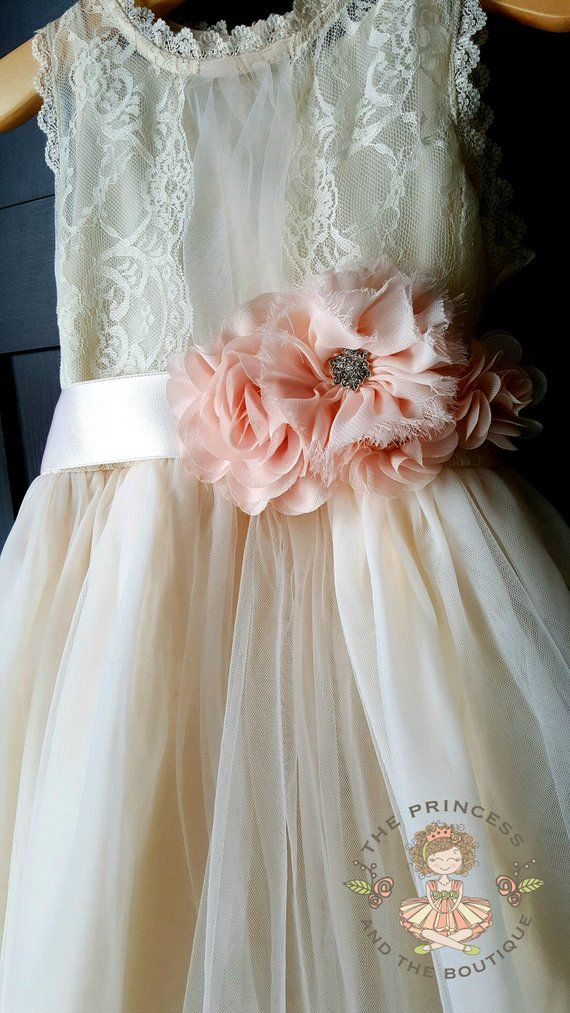 52bb2571f7e Flower girl dress champagne with blush sash flower girl dress