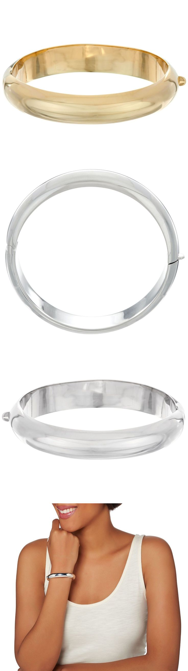 Precious Metal without Stones 164313: Shiny Polished Hinged Bangle Bracelet 14K Yellow Gold Clad Sterling Silver Qvc -> BUY IT NOW ONLY: $76.7 on eBay!