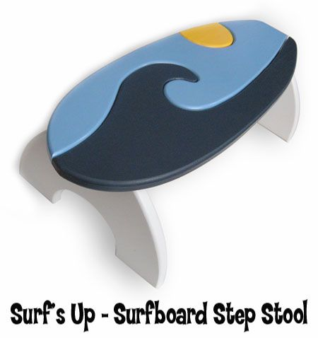 Surf U0026 Beach Decor   Surfboard Step Stool   Surfu0027s Up. Bathroom ...