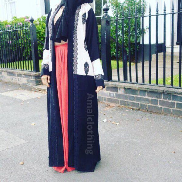 Monochrome Open Abaya | Amal clothing abaya thobe khaleeji hijab jilbab niqaab jewellery