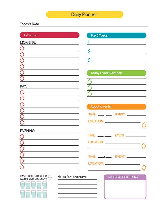 Time management daily planner digital printable for Time management planner templates free