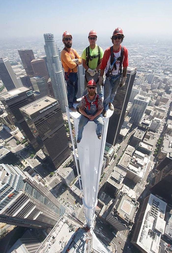 """southernsideofme: """"Standing on top of the newly built Wilshire Grand Tower in Los Angeles. 1099ft """""""