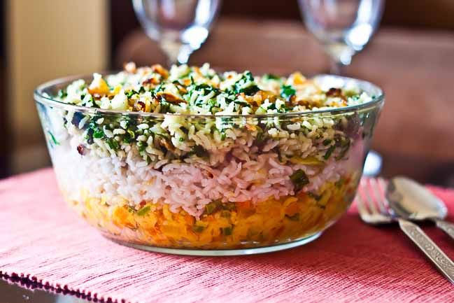 The Layered Tricolor Biryani recipe is a combination of colors of the made with…