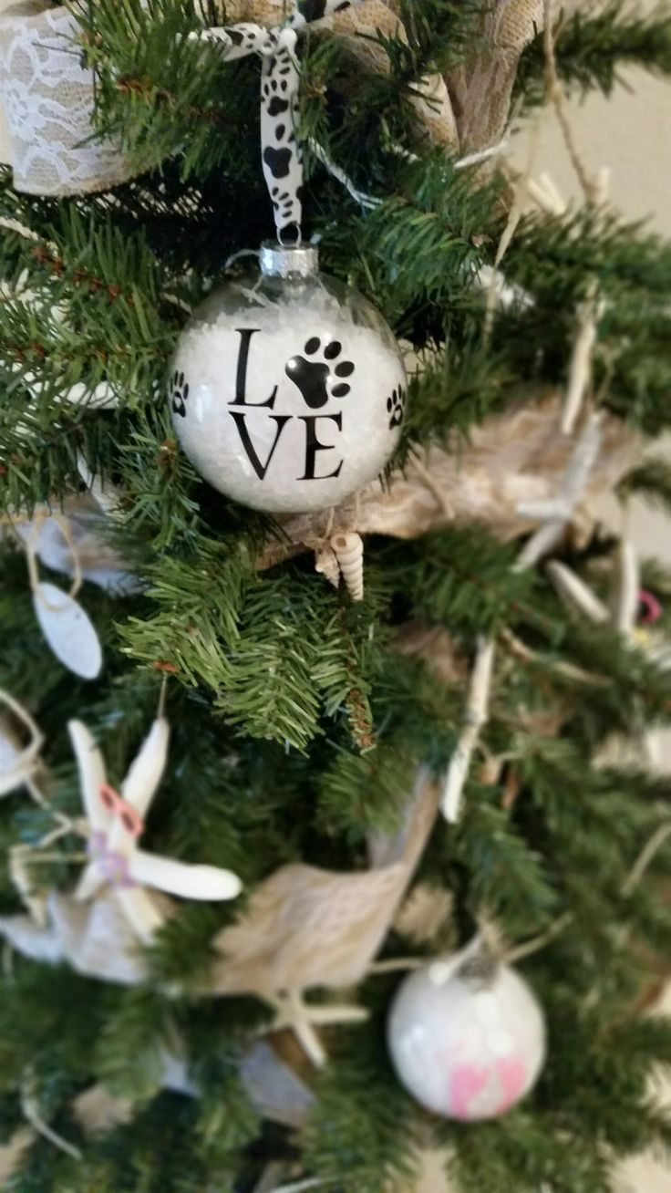Tennis christmas ornaments - Dog Paw Clear Glass Ornament Love Dog Christmas Ornament Dog Love Glass Ornament