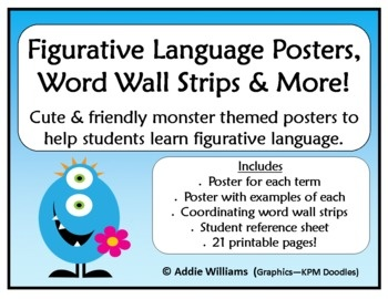 Figurative language posters, word wall strips and more! Cute monster theme.  ($)