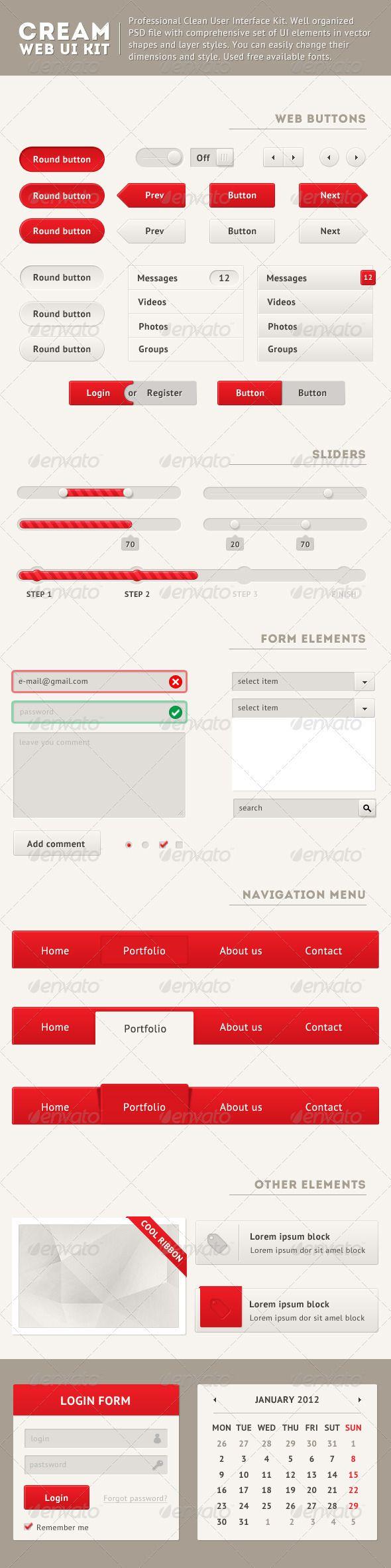 Clean Web UI Kit - #User #Interfaces #Web Elements Download here: https://graphicriver.net/item/clean-web-ui-kit/2473832?ref=alena994