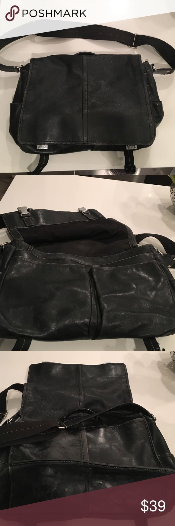 Coach messenger bag Men's large Coach Black leather messenger bag. My husband used this daily for work and shows signs of a lot of wear. Most wear is on back and bottom (picture 3) Can prob polish it ...never tried. Missing one clip seen in pic 4. Coach Bags Messenger Bags