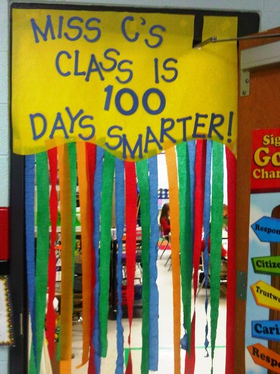 100 Days of School Doors! We should do one of these in the Pre-K hallway!!! =)