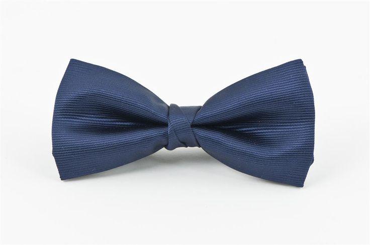 Navy Self Stripe Bow Tie