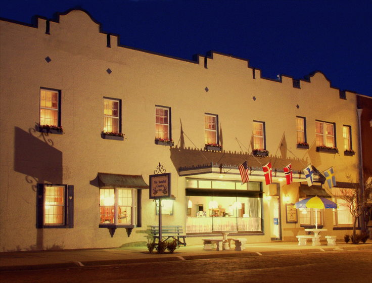 Swedish Country Inn in Lindsborg, KS For a great overnight stay with breakfast buffet.  Swedish gift shop on the first floor.  1/2 block from the J.O. Sundstrom Conference Center.