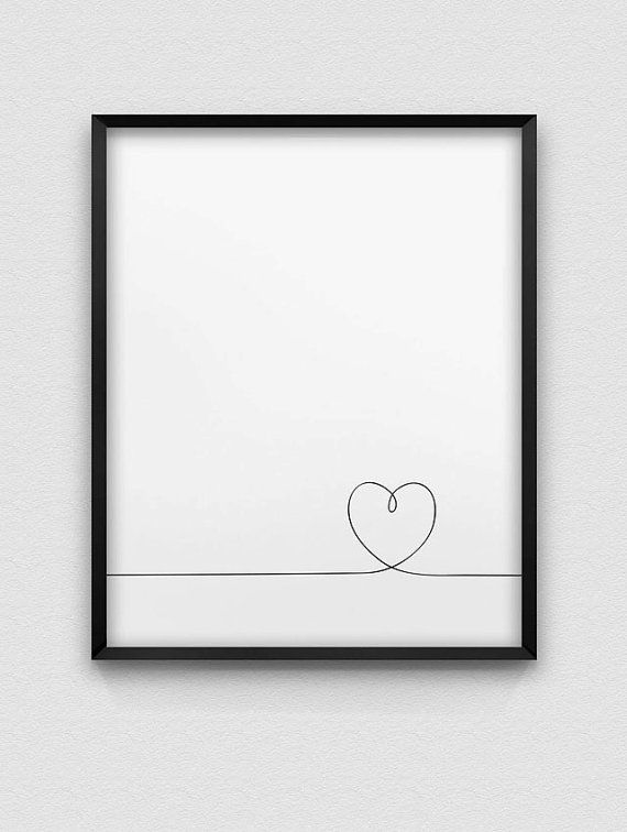 PRINTABLE INSTANT DOWNLOAD OF TWO FILES - IN JPG AND PDF FORMAT Minimalistic black and white heart print. The dimensions of the print are 8 x 10