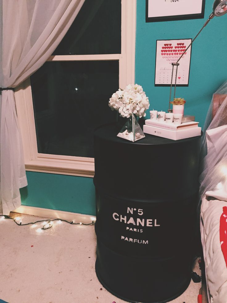 DIY chanel night stand :) tumblr inspired room decor! #DIY #CHANEL #ROOMDECOR #TUMBLR