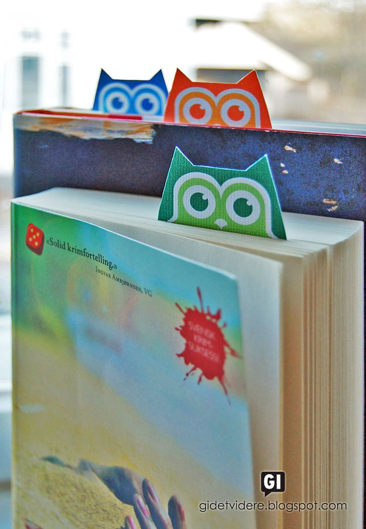 Gi det videre   Pay it forward: Bokugler med kort   Owl bookmarks and card
